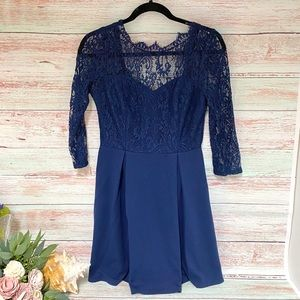 Charlotte Russe Navy & Lace Dress / Medium